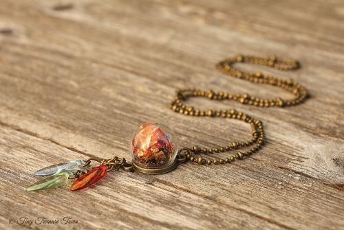 Magische Flöckchen Kette Metallisch bunt und bronzefarben mit Böhmischen Glasperlen Kleine Kugel-31