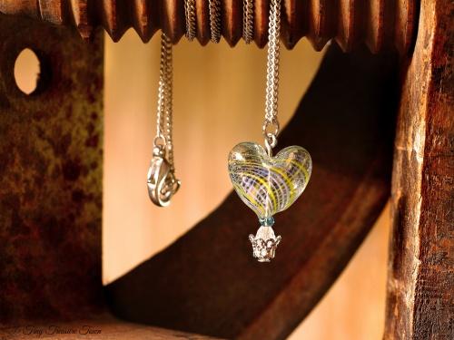 Herz Heißluftballon Halskette Gelb Hellblau Silberfarben-31