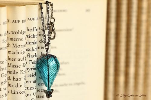 Heißluftballon Halskette Rauchblau Gunmetal-31
