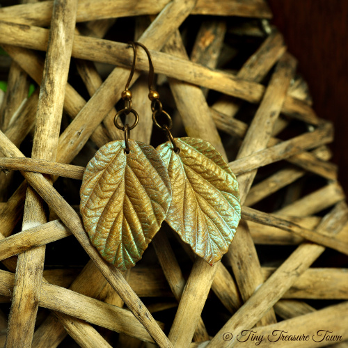 """Handgemachte """"Verzauberte Blätter"""" Ohrringe Bronzefarben mit magischem blaugrünem Schimmer-31"""