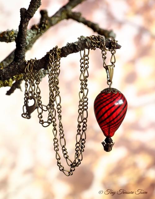 Heißluftballon Halskette Bronze Rot Schwarz Transparent-31