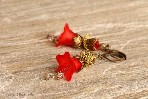 Feenblumen Ohrringe Farben Rot Bronze Messing-31