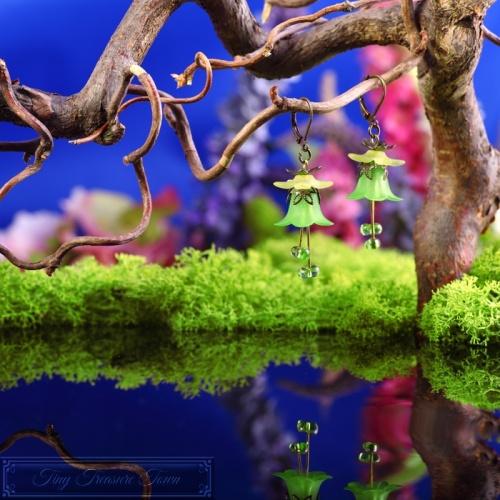 Feenblumen Ohrringe Bronze Grün Gelb-31