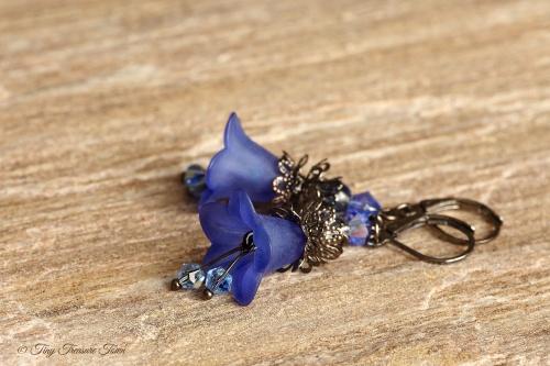 Feenblumen Ohrringe Farben Gunmetal Blau-31