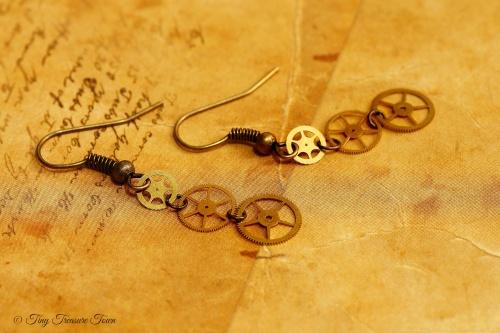 Zahnrad Ohrringe bronzefarben Wunschanfertigung für Alena-31