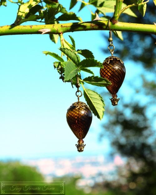 Heißluftballon Ohrringe Bronze Dunkelbraun Transparent-31