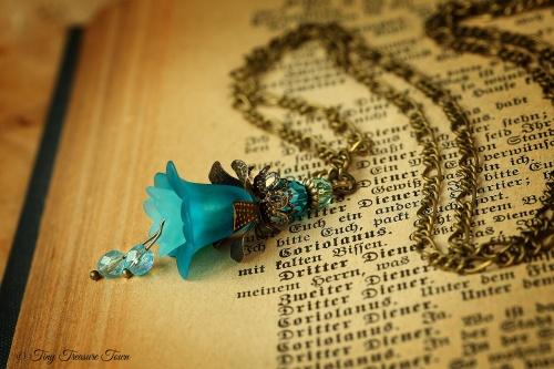 Feenblumen Halskette Farben Bronze Türkisblau-31