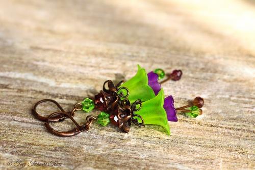 Feenblumen Ohrringe Kupfer Grün Lila-31