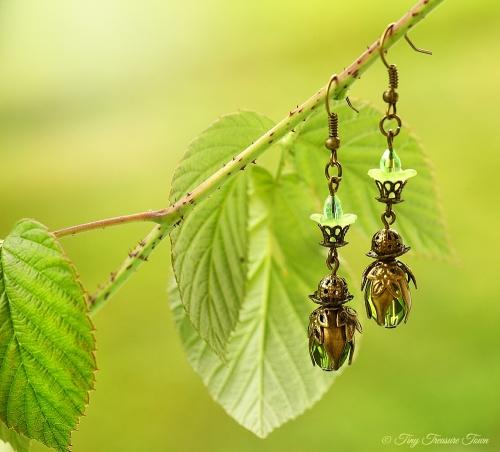 Geheimer Garten Ohrringe Farben Bronze Grün-31