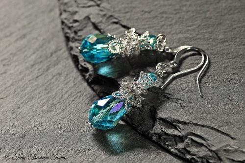 Feen Tautropfen Ohrringe Hellblau Silberfarben-31