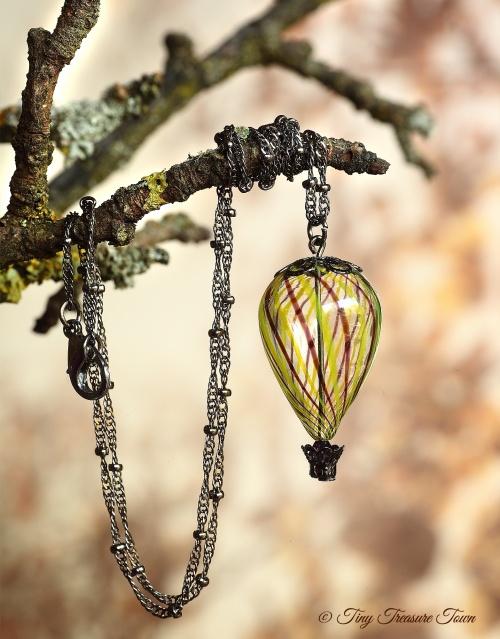 Heißluftballon Halskette Gunmetal Schwarzlila Gelb Transparent-31