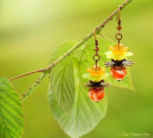 Geheimer Garten Ohrringe Farben Kupfer Orange Grün-31