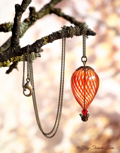 Heißluftballon Halskette Bronze Rot Transparent-31
