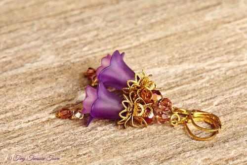 Feenblumen Ohrringe Farben Messing Gold Lila-31