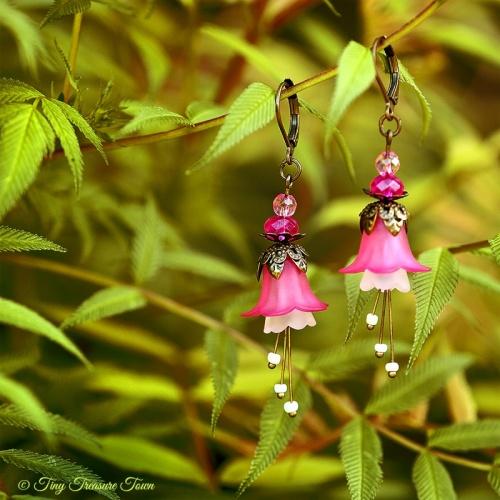 Feenblumen Ohrringe Farben Bronze Pink Rosa Weiß-31