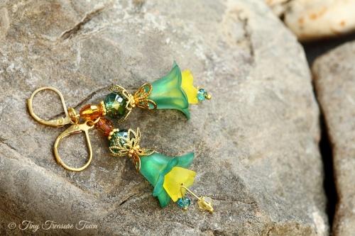 Feenblumen Ohrringe Farben Messing Gold Petrol Gelb-31
