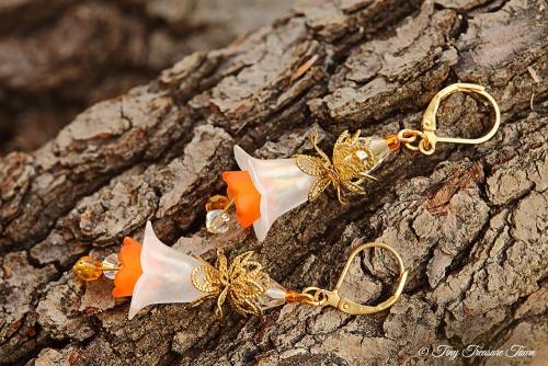 Feenblumen Ohrringe Farben Messing Gold Weiß Orange-31