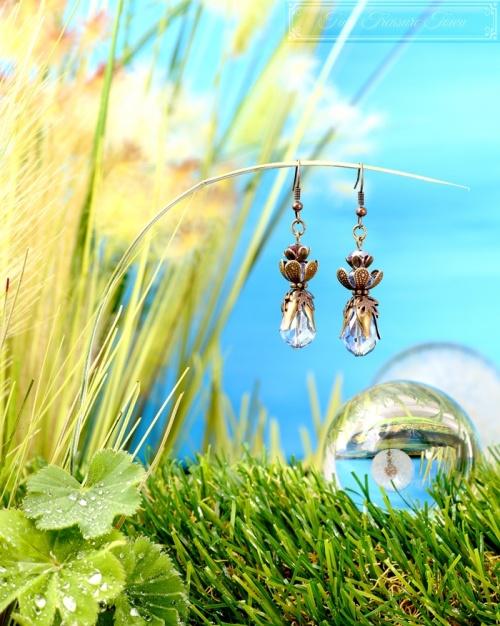 Feen Tautropfen Ohrringe Bronze Blau-31