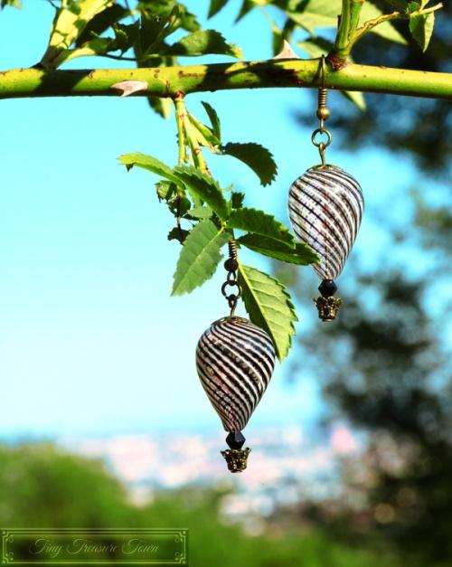 Heißluftballon Ohrringe - Bronze Schwarz Weiß Transparent