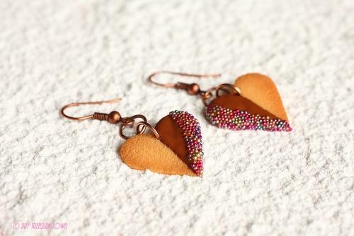Handgemachte Keks Ohrringe - Herzen vollmilch