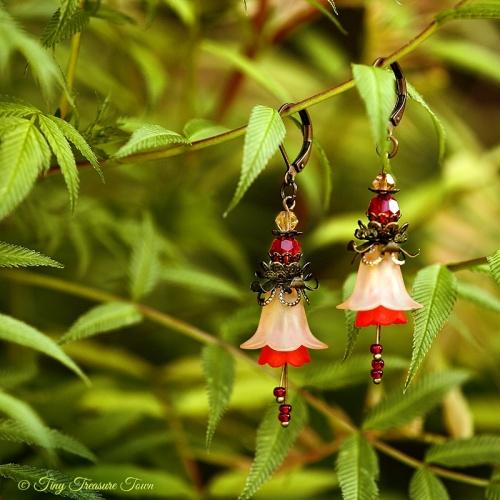 Feenblumen Ohrringe - Farben Bronze Helllachs Rot