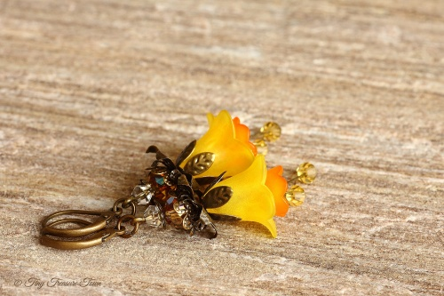 Feenblumen Ohrringe - Farben Gelb Orange Bronze