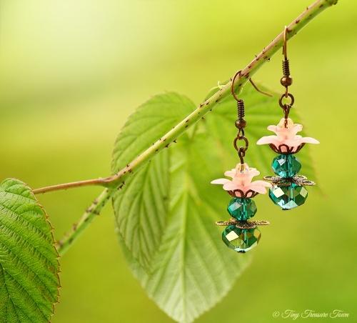 Geheimer Garten Ohrringe - Farben Kupfer Petrol Rosa