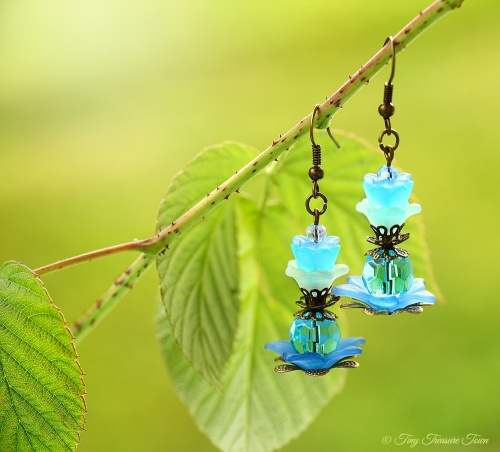 Geheimer Garten Ohrringe - Farben Bronze Blau Türkis