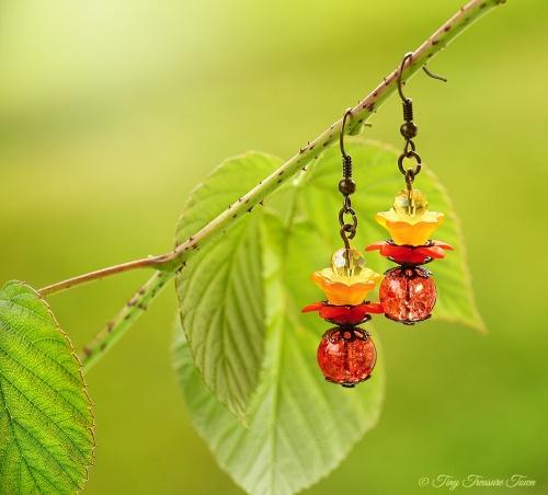 Geheimer Garten Ohrringe - Farben Bronze Lachs Rot Orange Gelb