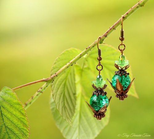 Geheimer Garten Ohrringe - Farben Kupfer Petrolgrün Grün