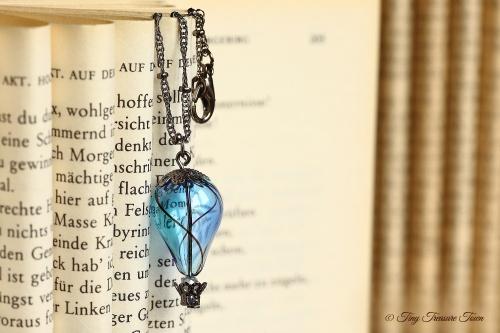 Heißluftballon Halskette - Blau Türkis Gunmetal