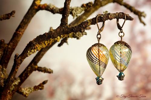 Heißluftballon Ohrringe - Bronze Multicolor Transparent