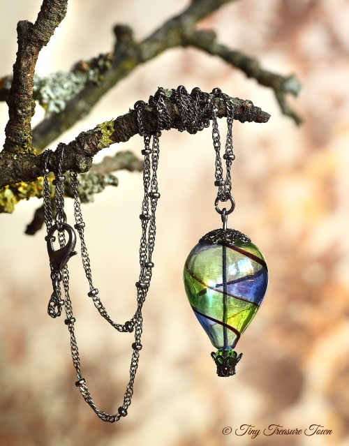 Heißluftballon Halskette - Gunmetal Blau Grün Schwarz Transparent