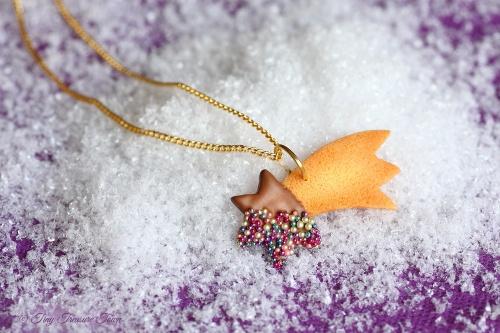 Handgemachte Keks Halskette - Sternschnuppe Vollmilch
