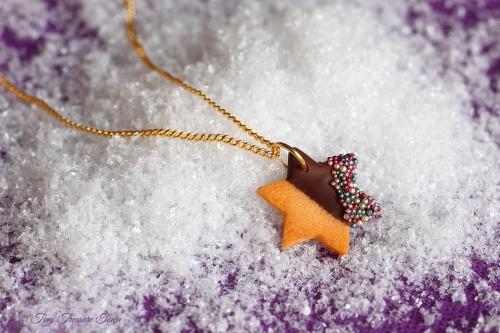Handgemachte Keks Halskette - Stern Zartbitter