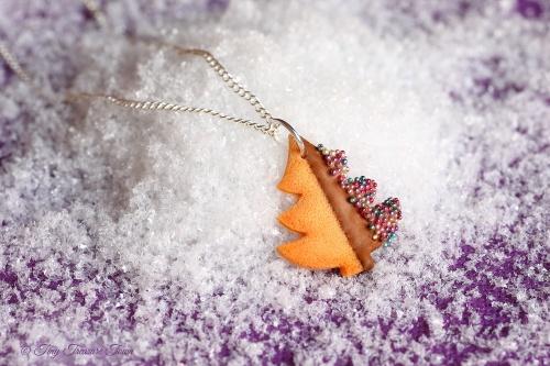 Handgemachte Keks Halskette - Tannenbaum Vollmilch