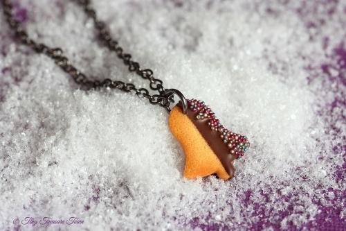 Handgemachte Keks Halskette - Glocke Zartbitter