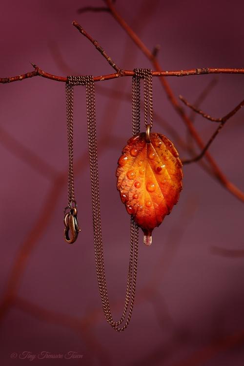 """Handgemachte """"Waldgeheimnis"""" Blatt Halskette - Indian Summer für Pia"""