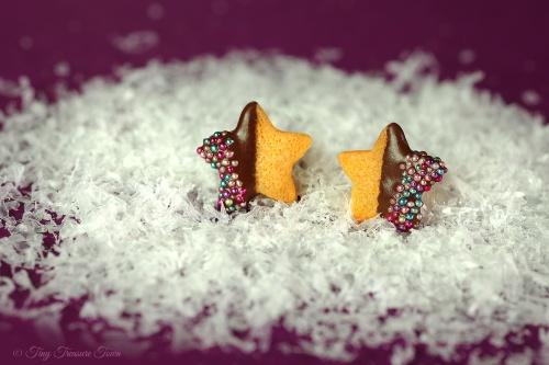 Handgemachte Keks Ohrringe - Kleine Sternchen zartbitter - 925er Sterlingsilber Ohrstecker
