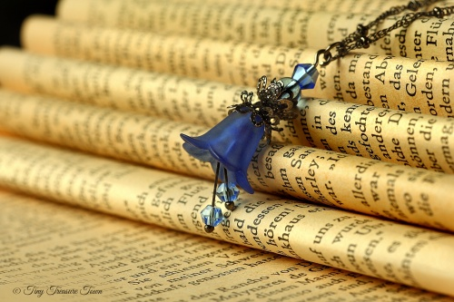 Feenblumen Halskette - Farben Gunmetal Blau