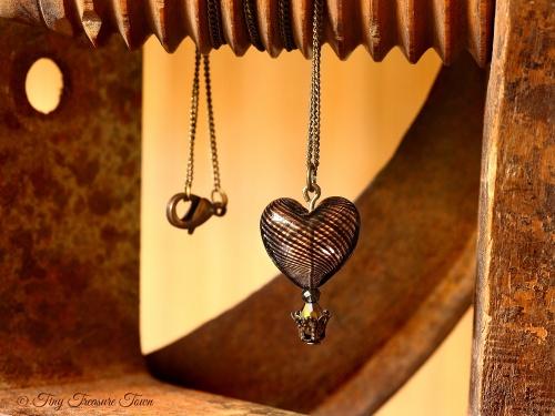 Herz Heißluftballon Halskette - Schwarzbraun Bronzefarben