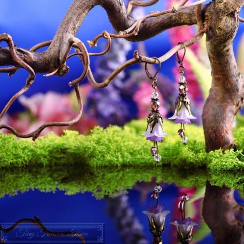 Feenblumen Ohrringe - Bronze Helllila Lila