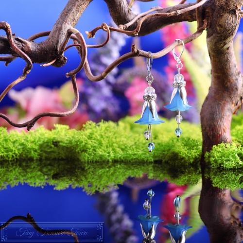 Feenblumen Ohrringe - Silber Blau