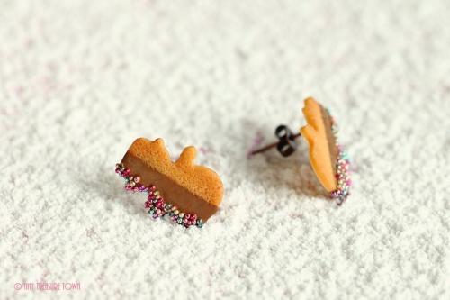 Handgemachte Keks Ohrringe - Schneemänner vollmilch