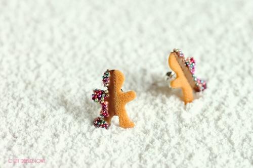 Handgemachte Keks Ohrringe - Lebkuchenmänner vollmilch