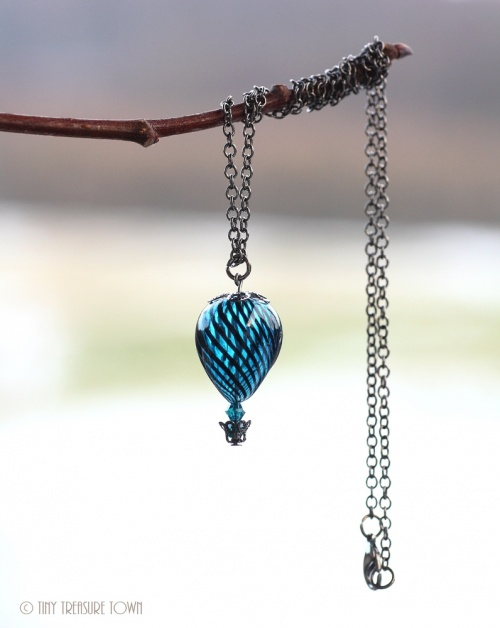 Heißluftballon Halskette - Gunmetal Petrol Schwarz Transparent
