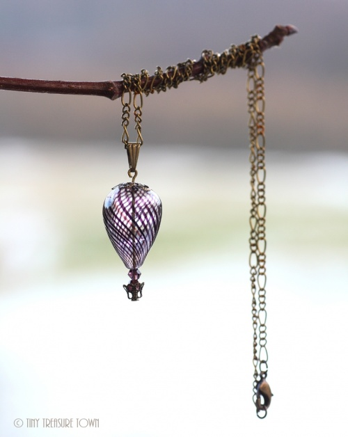 Heißluftballon Halskette - Bronze Schwarzlila Transparent