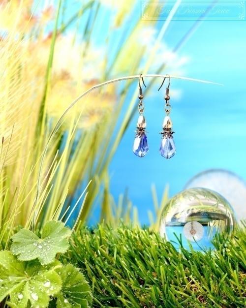 Feen Tautropfen Ohrringe Bronze Blau Grau-31