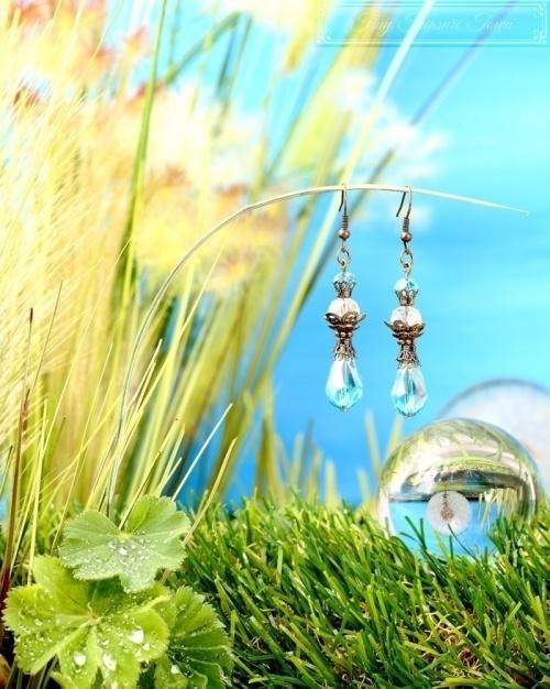Feen Tautropfen Ohrringe Bronze Türkis Transparent-31