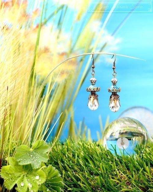 Feen Tautropfen Ohrringe Bronze Transparent Türkis-31